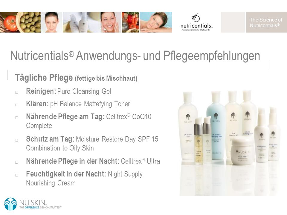 The Science of Nutricentials ® Tägliche Pflege (fettige bis Mischhaut)  Reinigen: Pure Cleansing Gel  Klären: pH Balance Mattefying Toner  Nährende Pflege am Tag: Celltrex ® CoQ10 Complete  Schutz am Tag: Moisture Restore Day SPF 15 Combination to Oily Skin  Nährende Pflege in der Nacht: Celltrex ® Ultra  Feuchtigkeit in der Nacht: Night Supply Nourishing Cream Nutricentials ® Anwendungs- und Pflegeempfehlungen