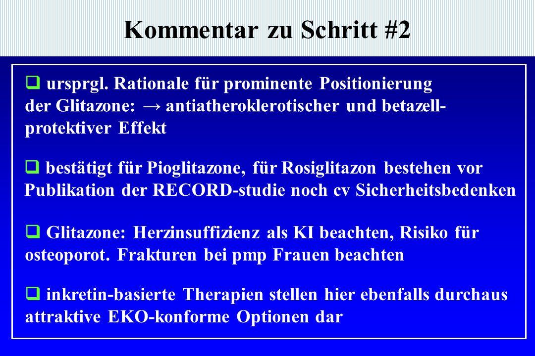 Kommentar zu Schritt #2  ursprgl. Rationale für prominente Positionierung der Glitazone: → antiatheroklerotischer und betazell- protektiver Effekt 
