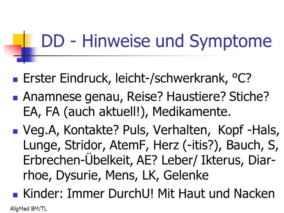 AllgMed BM/TL DD - Hinweise und Symptome Erster Eindruck, leicht-/schwerkrank, °C.