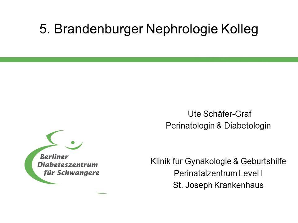 5. Brandenburger Nephrologie Kolleg Ute Schäfer-Graf Perinatologin & Diabetologin Klinik für Gynäkologie & Geburtshilfe Perinatalzentrum Level I St. J