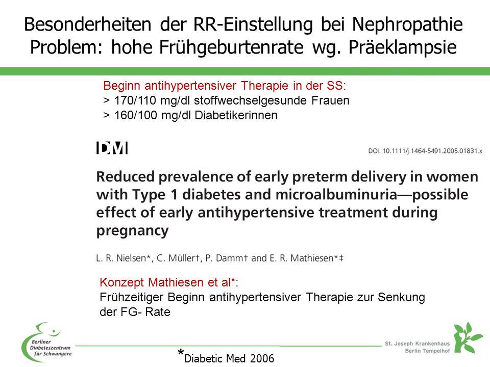 Besonderheiten der RR-Einstellung bei Nephropathie Problem: hohe Frühgeburtenrate wg.