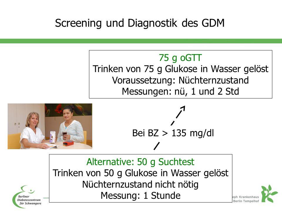 Screening und Diagnostik des GDM 75 g oGTT Trinken von 75 g Glukose in Wasser gelöst Voraussetzung: Nüchternzustand Messungen: nü, 1 und 2 Std Alternative: 50 g Suchtest Trinken von 50 g Glukose in Wasser gelöst Nüchternzustand nicht nötig Messung: 1 Stunde Bei BZ > 135 mg/dl
