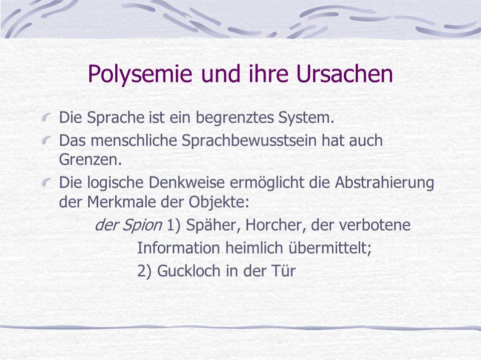 Polysemie und ihre Ursachen Die Sprache ist ein begrenztes System.