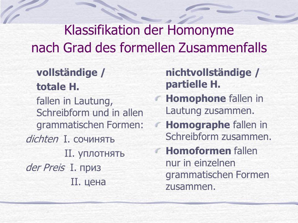 Klassifikation der Homonyme nach Grad des formellen Zusammenfalls vollständige / totale H.