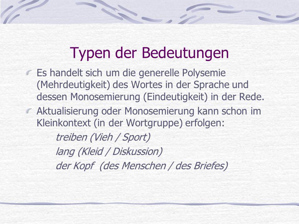 Typen der Bedeutungen Es handelt sich um die generelle Polysemie (Mehrdeutigkeit) des Wortes in der Sprache und dessen Monosemierung (Eindeutigkeit) in der Rede.