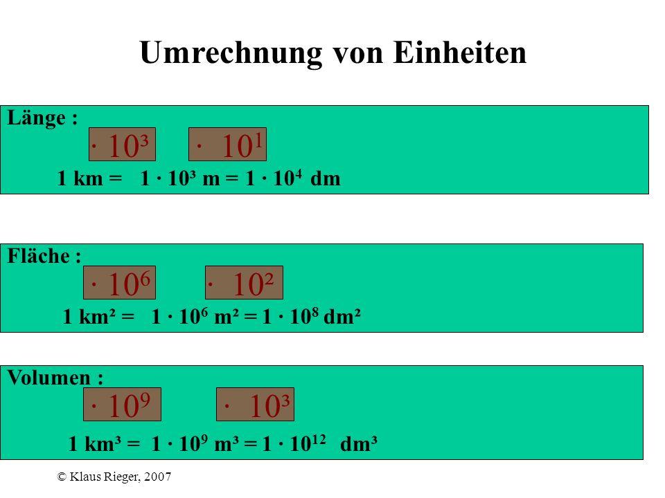 © Klaus Rieger, 2007 Umrechnung von Einheiten Länge : 1 km = 1 km² = 1 km³ = Fläche : Volumen : 1 · 10³ m = dm 1 · 10 6 m² = dm² 1 · 10 9 m³ = dm³ · 10³ · 10 6 · 10 9 1 · 10 4 1 · 10 8 · 10 1 · 10² · 10³ 1 · 10 12