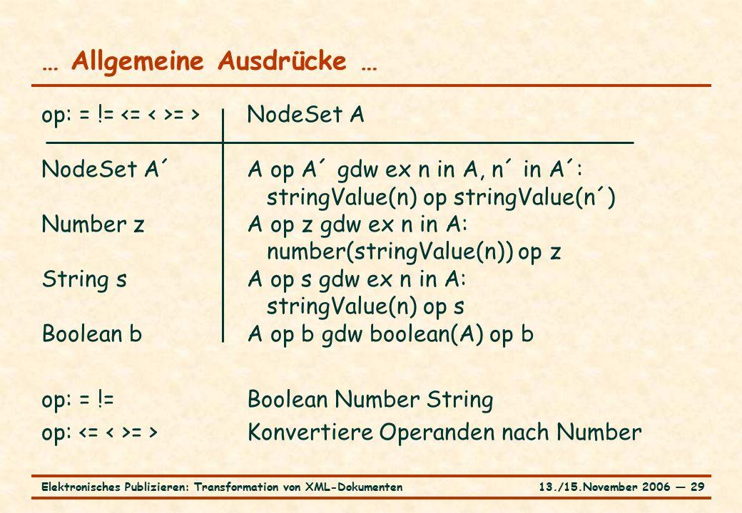 13./15.November 2006 ― 29Elektronisches Publizieren: Transformation von XML-Dokumenten … Allgemeine Ausdrücke … op: = != = >NodeSet A NodeSet A´A op A´ gdw ex n in A, n´ in A´: stringValue(n) op stringValue(n´) Number zA op z gdw ex n in A: number(stringValue(n)) op z String sA op s gdw ex n in A: stringValue(n) op s Boolean bA op b gdw boolean(A) op b op: = !=Boolean Number String op: = >Konvertiere Operanden nach Number