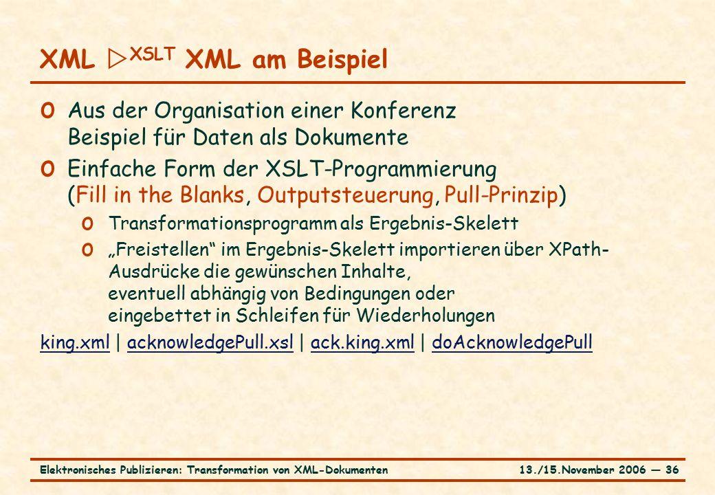 13./15.November 2006 ― 36Elektronisches Publizieren: Transformation von XML-Dokumenten o Aus der Organisation einer Konferenz Beispiel für Daten als D