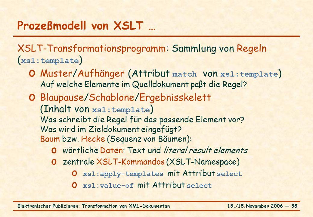 13./15.November 2006 ― 38Elektronisches Publizieren: Transformation von XML-Dokumenten Prozeßmodell von XSLT … XSLT-Transformationsprogramm: Sammlung von Regeln ( xsl:template ) o Muster/Aufhänger (Attribut match von xsl:template ) Auf welche Elemente im Quelldokument paßt die Regel.