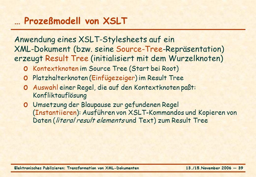 13./15.November 2006 ― 39Elektronisches Publizieren: Transformation von XML-Dokumenten … Prozeßmodell von XSLT Anwendung eines XSLT-Stylesheets auf ein XML-Dokument (bzw.