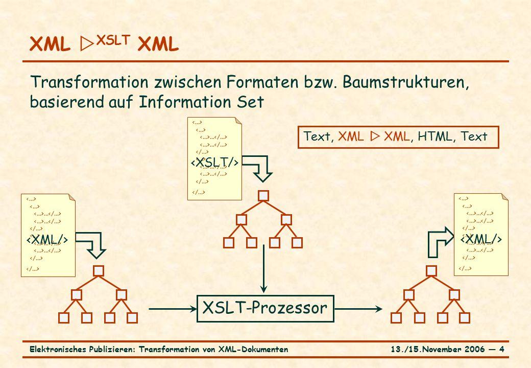 13./15.November 2006 ― 4Elektronisches Publizieren: Transformation von XML-Dokumenten XML  XSLT XML Transformation zwischen Formaten bzw. Baumstruktu