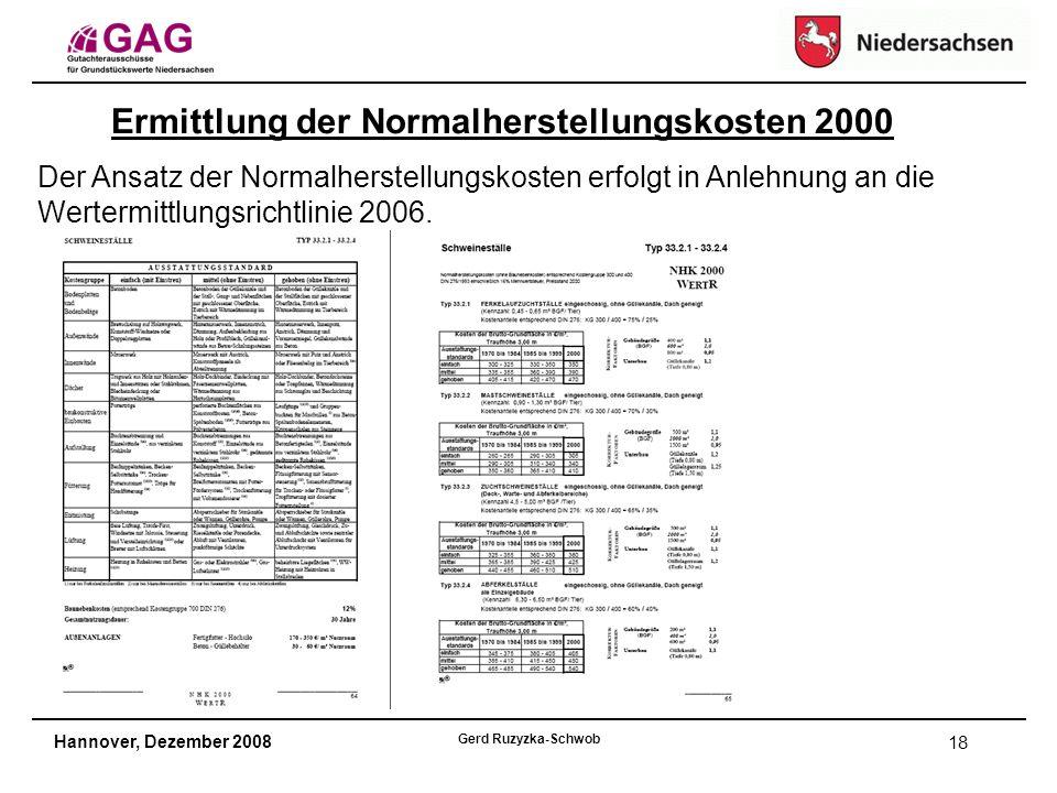 Hannover, Dezember 2008 Gerd Ruzyzka-Schwob 18 Ermittlung der Normalherstellungskosten 2000 Der Ansatz der Normalherstellungskosten erfolgt in Anlehnung an die Wertermittlungsrichtlinie 2006.