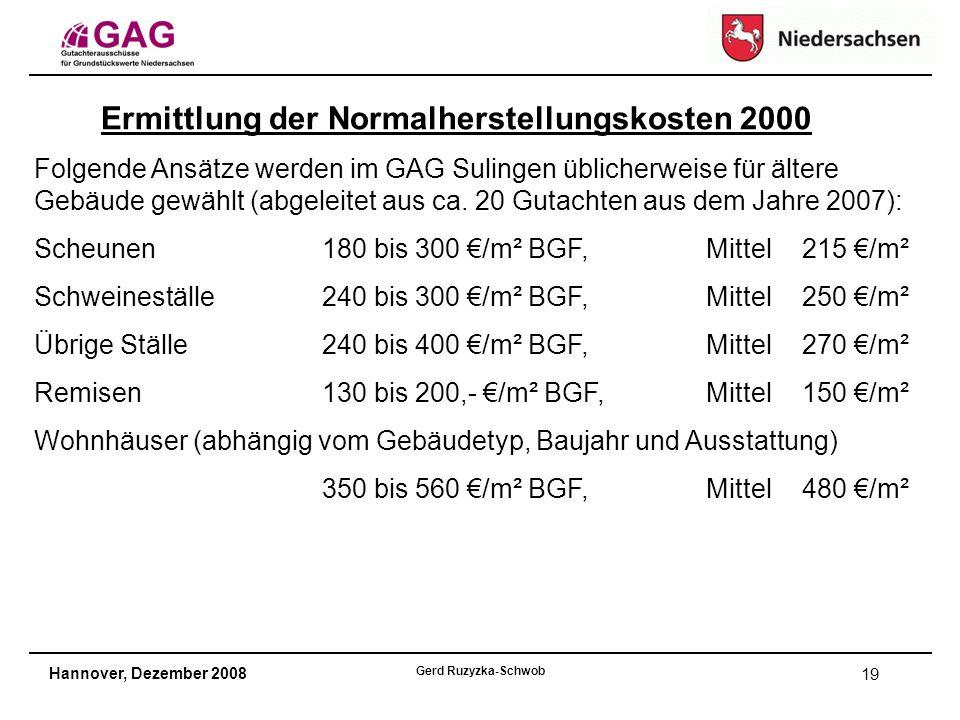 Hannover, Dezember 2008 Gerd Ruzyzka-Schwob 19 Ermittlung der Normalherstellungskosten 2000 Folgende Ansätze werden im GAG Sulingen üblicherweise für ältere Gebäude gewählt (abgeleitet aus ca.