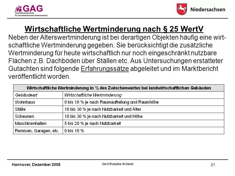 Hannover, Dezember 2008 Gerd Ruzyzka-Schwob 21 Wirtschaftliche Wertminderung nach § 25 WertV Neben der Alterswertminderung ist bei derartigen Objekten häufig eine wirt- schaftliche Wertminderung gegeben.