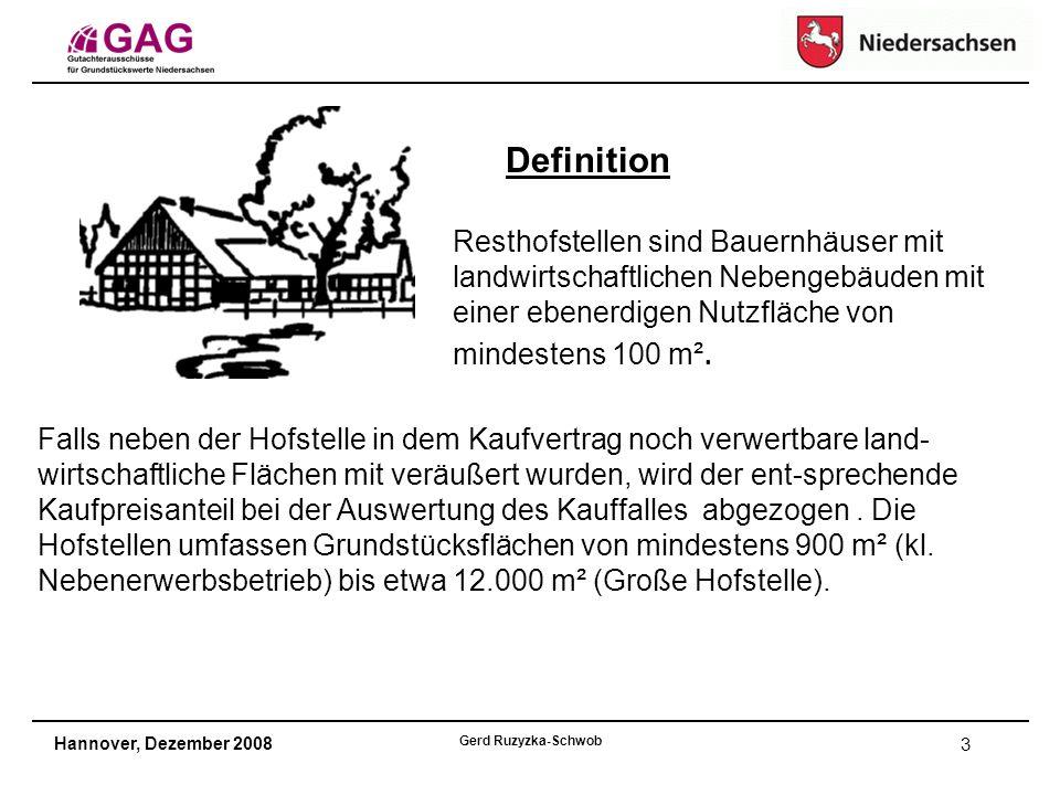 Hannover, Dezember 2008 Gerd Ruzyzka-Schwob 3 Definition Resthofstellen sind Bauernhäuser mit landwirtschaftlichen Nebengebäuden mit einer ebenerdigen Nutzfläche von mindestens 100 m².