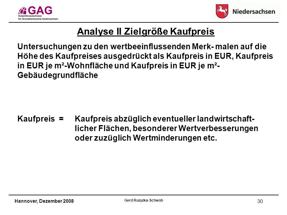 Hannover, Dezember 2008 Gerd Ruzyzka-Schwob 30 Analyse II Zielgröße Kaufpreis Untersuchungen zu den wertbeeinflussenden Merk- malen auf die Höhe des Kaufpreises ausgedrückt als Kaufpreis in EUR, Kaufpreis in EUR je m²-Wohnfläche und Kaufpreis in EUR je m²- Gebäudegrundfläche Kaufpreis =Kaufpreis abzüglich eventueller landwirtschaft- licher Flächen, besonderer Wertverbesserungen oder zuzüglich Wertminderungen etc.