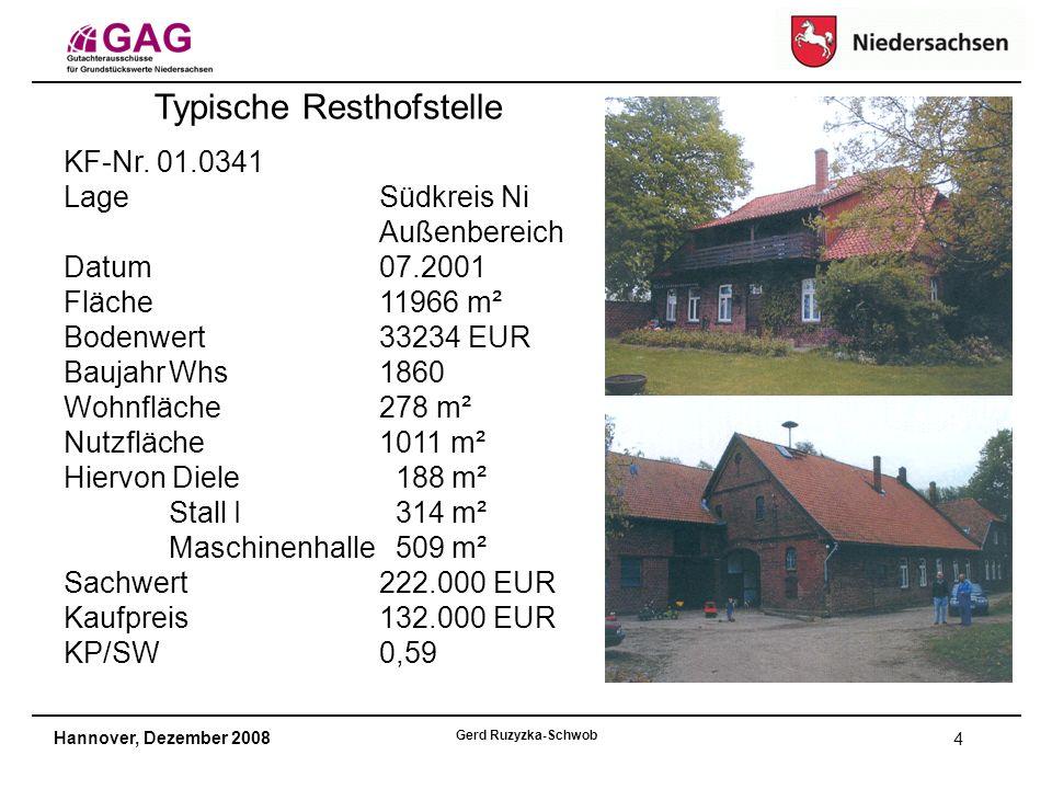 Hannover, Dezember 2008 Gerd Ruzyzka-Schwob 4 Typische Resthofstelle KF-Nr.