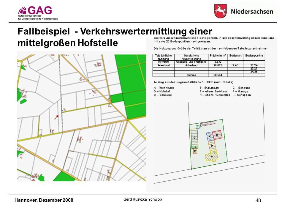 Hannover, Dezember 2008 Gerd Ruzyzka-Schwob 48 Fallbeispiel - Verkehrswertermittlung einer mittelgroßen Hofstelle
