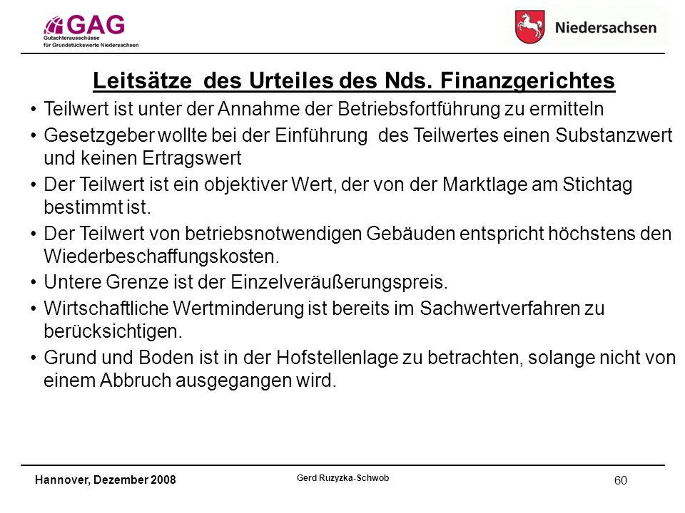 Hannover, Dezember 2008 Gerd Ruzyzka-Schwob 60 Leitsätze des Urteiles des Nds.