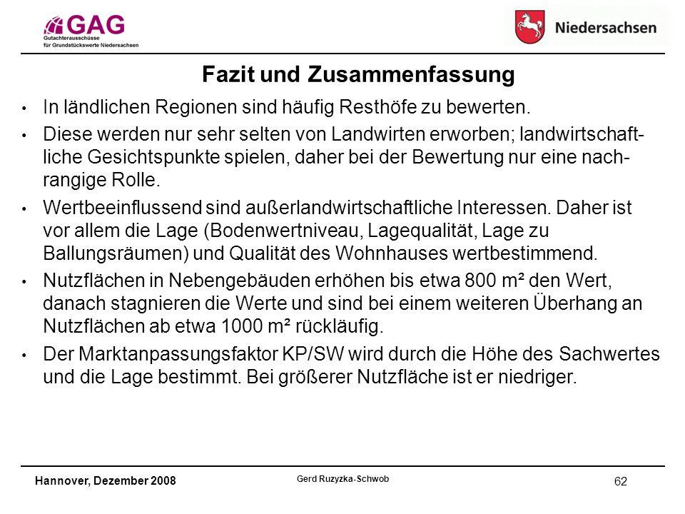 Hannover, Dezember 2008 Gerd Ruzyzka-Schwob 62 In ländlichen Regionen sind häufig Resthöfe zu bewerten.