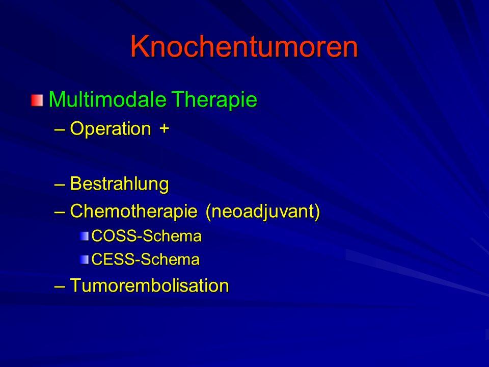 Knochentumoren Multimodale Therapie –Operation + –Bestrahlung –Chemotherapie (neoadjuvant) COSS-SchemaCESS-Schema –Tumorembolisation