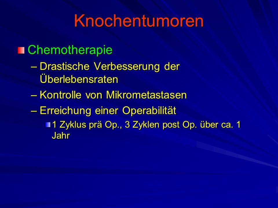 Knochentumoren Chemotherapie –Drastische Verbesserung der Überlebensraten –Kontrolle von Mikrometastasen –Erreichung einer Operabilität 1 Zyklus prä Op., 3 Zyklen post Op.