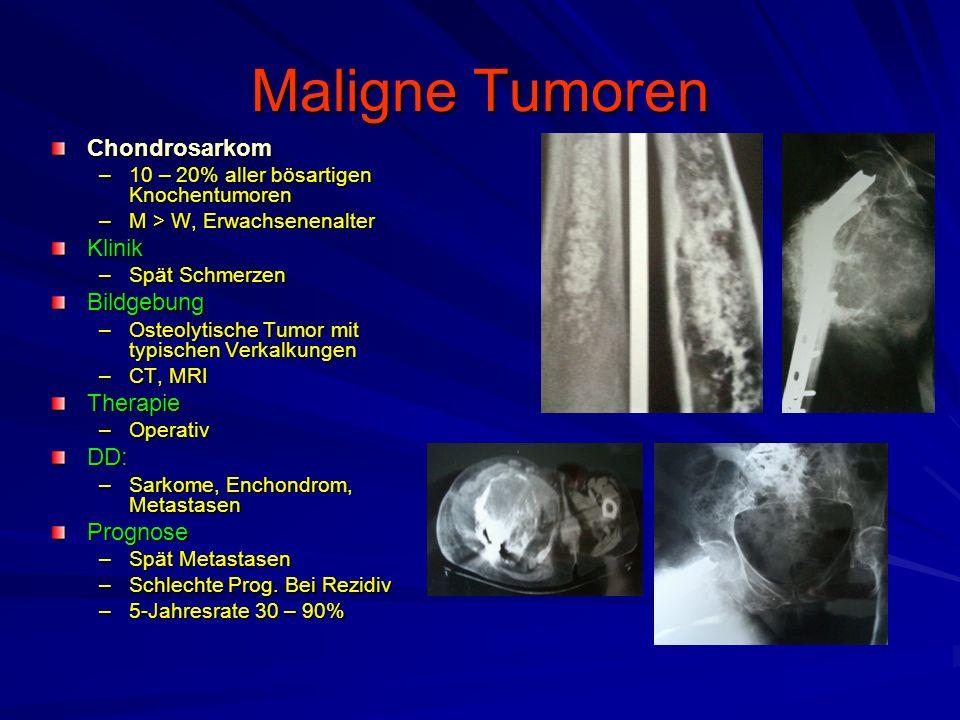 Maligne Tumoren Chondrosarkom –10 – 20% aller bösartigen Knochentumoren –M > W, Erwachsenenalter Klinik –Spät Schmerzen Bildgebung –Osteolytische Tumor mit typischen Verkalkungen –CT, MRI Therapie –Operativ DD: –Sarkome, Enchondrom, Metastasen Prognose –Spät Metastasen –Schlechte Prog.