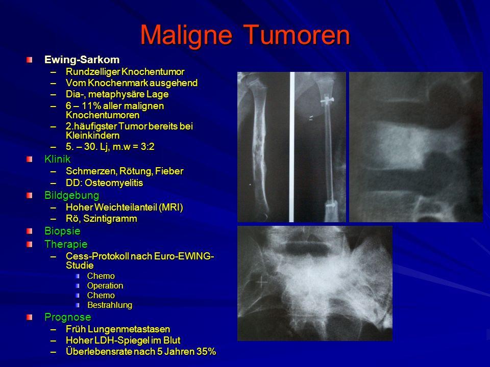 Maligne Tumoren Ewing-Sarkom –Rundzelliger Knochentumor –Vom Knochenmark ausgehend –Dia-, metaphysäre Lage –6 – 11% aller malignen Knochentumoren –2.häufigster Tumor bereits bei Kleinkindern –5.