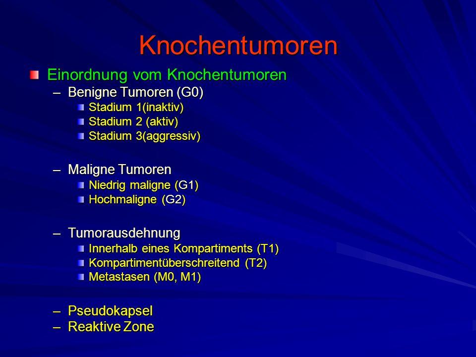 Knochentumoren Einordnung vom Knochentumoren –Benigne Tumoren (G0) Stadium 1(inaktiv) Stadium 2 (aktiv) Stadium 3(aggressiv) –Maligne Tumoren Niedrig maligne (G1) Hochmaligne (G2) –Tumorausdehnung Innerhalb eines Kompartiments (T1) Kompartimentüberschreitend (T2) Metastasen (M0, M1) –Pseudokapsel –Reaktive Zone