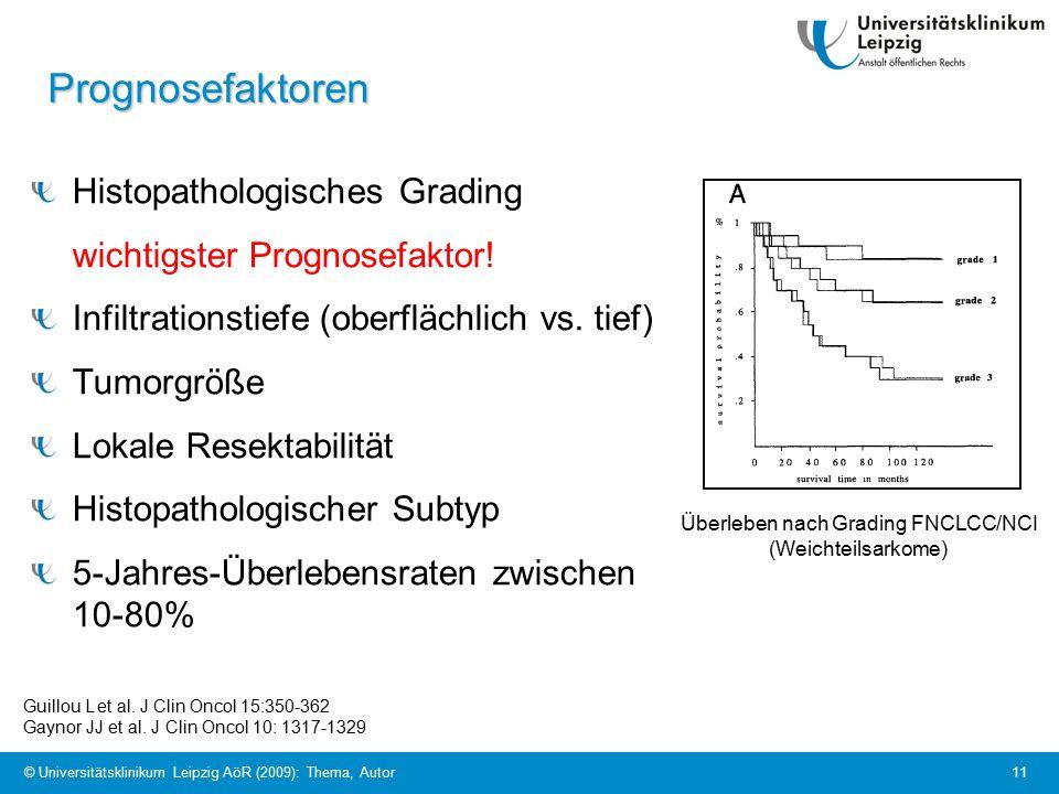 © Universitätsklinikum Leipzig AöR (2009): Thema, Autor 11 Prognosefaktoren Histopathologisches Grading wichtigster Prognosefaktor.