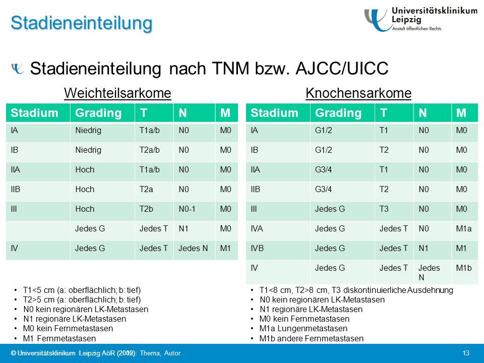 © Universitätsklinikum Leipzig AöR (2009): Thema, Autor 13 © Universitätsklinikum Leipzig AöR (2012):Stadieneinteilung Stadieneinteilung nach TNM bzw.