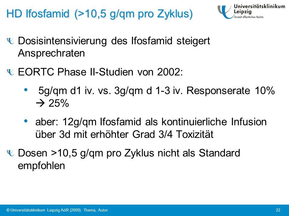 © Universitätsklinikum Leipzig AöR (2009): Thema, Autor 22 HD Ifosfamid (>10,5 g/qm pro Zyklus) Dosisintensivierung des Ifosfamid steigert Ansprechraten EORTC Phase II-Studien von 2002: 5g/qm d1 iv.