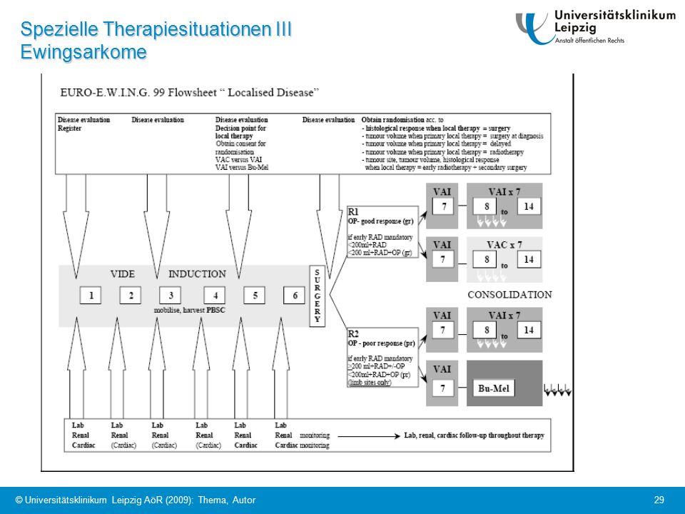 © Universitätsklinikum Leipzig AöR (2009): Thema, Autor 29 Spezielle Therapiesituationen III Ewingsarkome