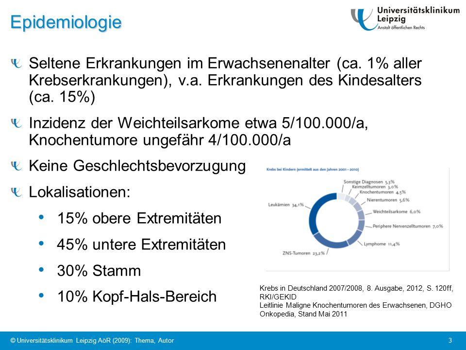 © Universitätsklinikum Leipzig AöR (2009): Thema, Autor 3Epidemiologie Seltene Erkrankungen im Erwachsenenalter (ca.