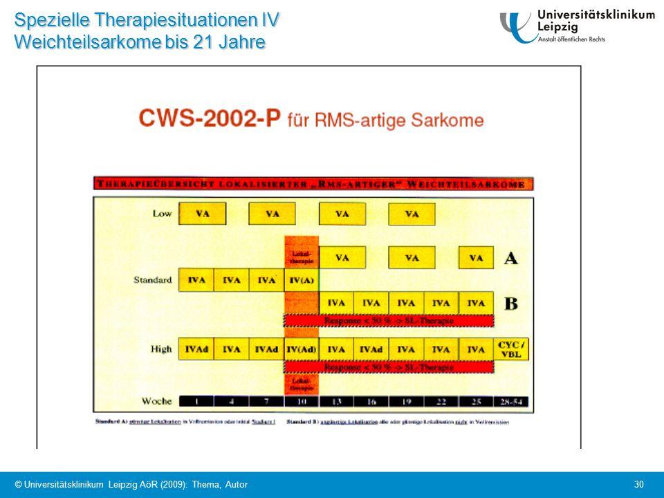 © Universitätsklinikum Leipzig AöR (2009): Thema, Autor 30 Spezielle Therapiesituationen IV Weichteilsarkome bis 21 Jahre
