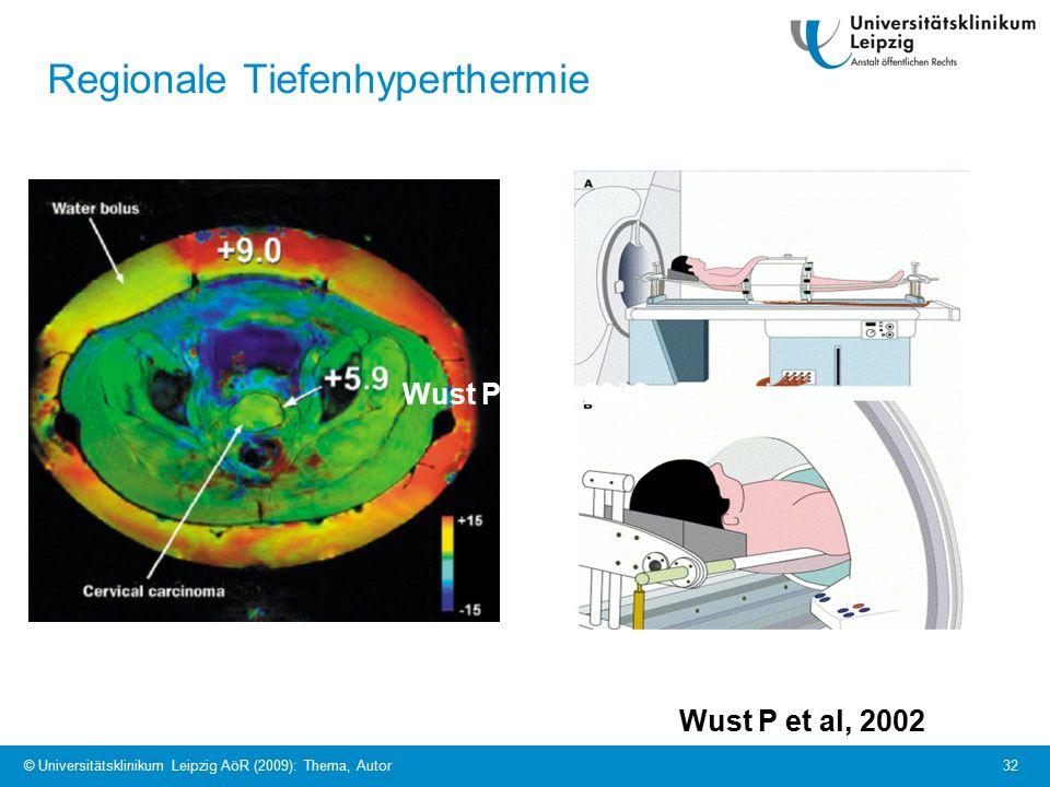© Universitätsklinikum Leipzig AöR (2009): Thema, Autor 32 Regionale Tiefenhyperthermie Wust P et al, 2002