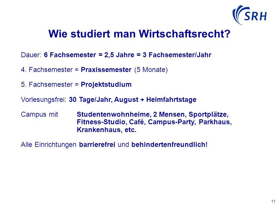 11 Wie studiert man Wirtschaftsrecht. Dauer: 6 Fachsemester = 2,5 Jahre = 3 Fachsemester/Jahr 4.