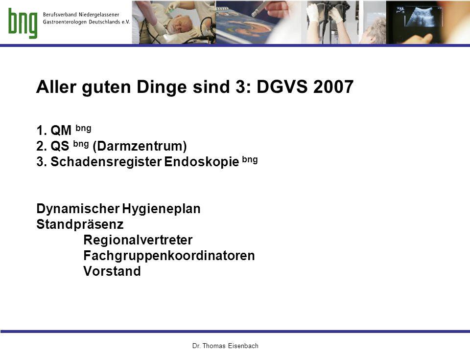 Aller guten Dinge sind 3: DGVS 2007 1. QM bng 2. QS bng (Darmzentrum) 3. Schadensregister Endoskopie bng Dynamischer Hygieneplan Standpräsenz Regional