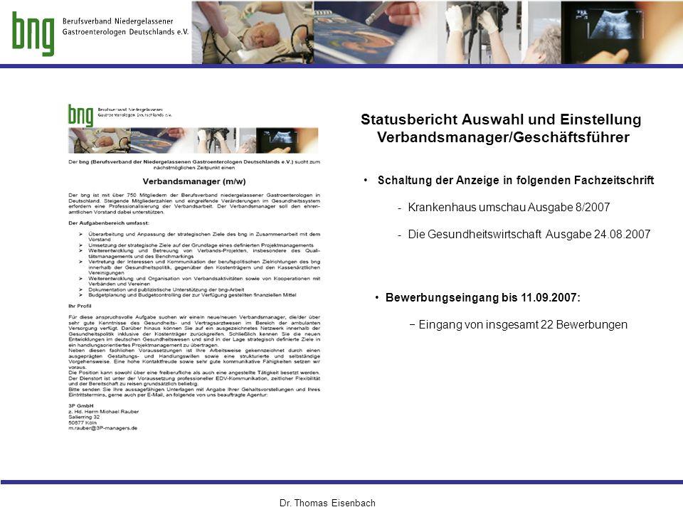 Dr. Thomas Eisenbach Schaltung der Anzeige in folgenden Fachzeitschrift - Krankenhaus umschau Ausgabe 8/2007 - Die Gesundheitswirtschaft Ausgabe 24.08