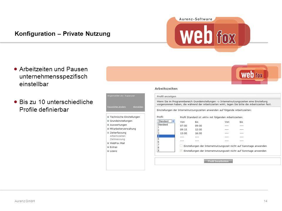 14Aurenz GmbH Konfiguration – Private Nutzung  Arbeitzeiten und Pausen unternehmensspezifisch einstellbar  Bis zu 10 unterschiedliche Profile definierbar