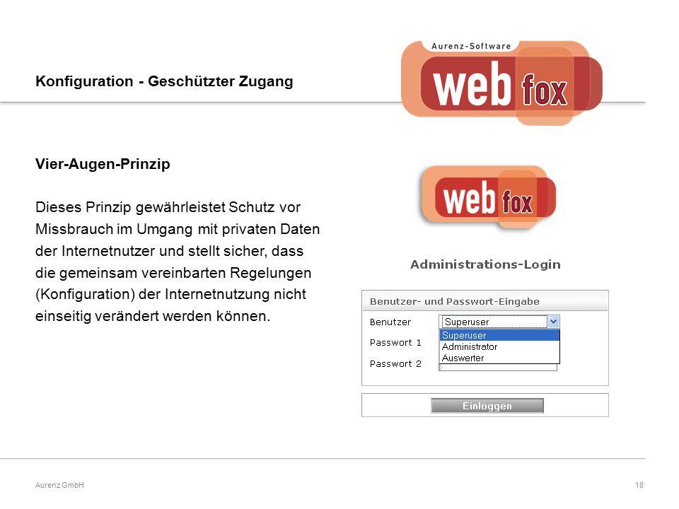18Aurenz GmbH Konfiguration - Geschützter Zugang Vier-Augen-Prinzip Dieses Prinzip gewährleistet Schutz vor Missbrauch im Umgang mit privaten Daten der Internetnutzer und stellt sicher, dass die gemeinsam vereinbarten Regelungen (Konfiguration) der Internetnutzung nicht einseitig verändert werden können.