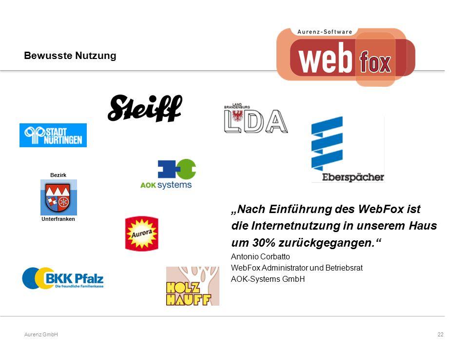 """22Aurenz GmbH """"Nach Einführung des WebFox ist die Internetnutzung in unserem Haus um 30% zurückgegangen. Antonio Corbatto WebFox Administrator und Betriebsrat AOK-Systems GmbH Bezirk Unterfranken Bewusste Nutzung"""