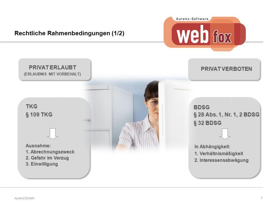 7Aurenz GmbH TKG § 109 TKG Ausnahme: 1. Abrechnungszweck 2. Gefahr im Verzug 3. Einwilligung PRIVAT VERBOTEN In Abhängigkeit: 1. Verhältnismäßigkeit 2