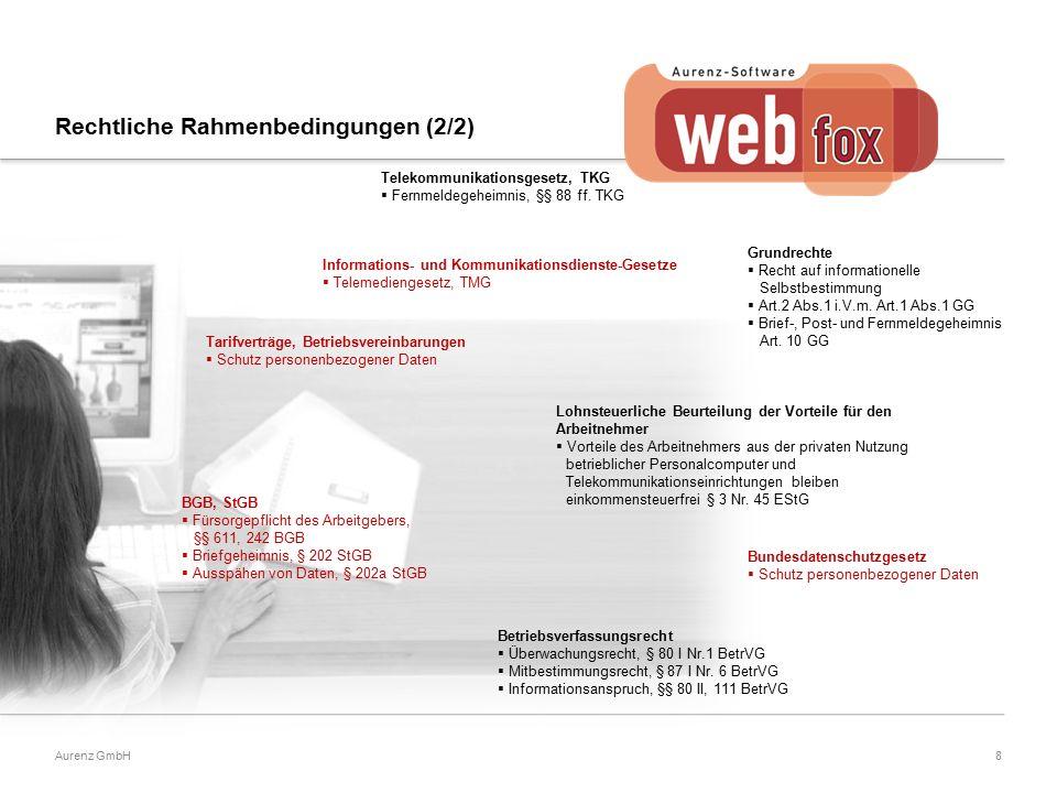 8Aurenz GmbH Tarifverträge, Betriebsvereinbarungen  Schutz personenbezogener Daten Lohnsteuerliche Beurteilung der Vorteile für den Arbeitnehmer  Vorteile des Arbeitnehmers aus der privaten Nutzung betrieblicher Personalcomputer und Telekommunikationseinrichtungen bleiben einkommensteuerfrei § 3 Nr.