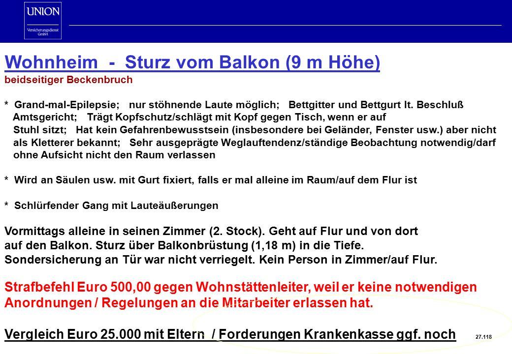 Wohnheim - Sturz vom Balkon (9 m Höhe) beidseitiger Beckenbruch * Grand-mal-Epilepsie; nur stöhnende Laute möglich; Bettgitter und Bettgurt lt.