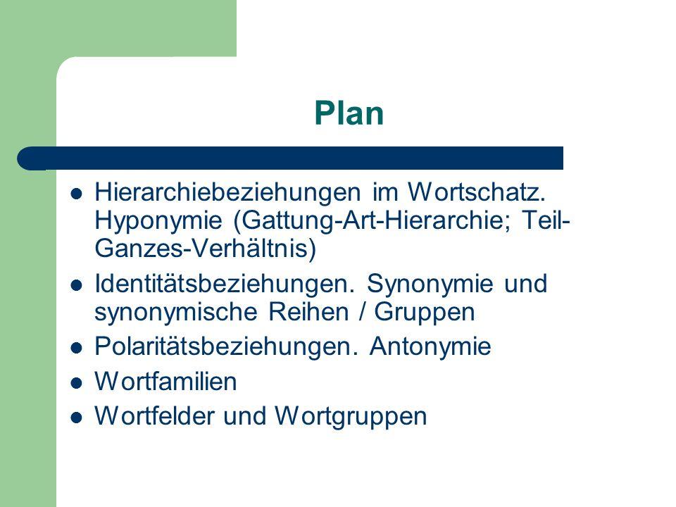 Plan Hierarchiebeziehungen im Wortschatz.