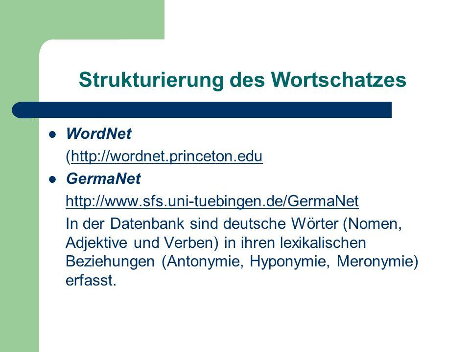 Strukturierung des Wortschatzes WordNet (http://wordnet.princeton.eduhttp://wordnet.princeton.edu GermaNet http://www.sfs.uni-tuebingen.de/GermaNet In der Datenbank sind deutsche Wörter (Nomen, Adjektive und Verben) in ihren lexikalischen Beziehungen (Antonymie, Hyponymie, Meronymie) erfasst.