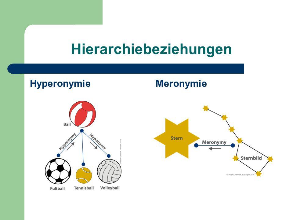 Hierarchiebeziehungen HyperonymieMeronymie