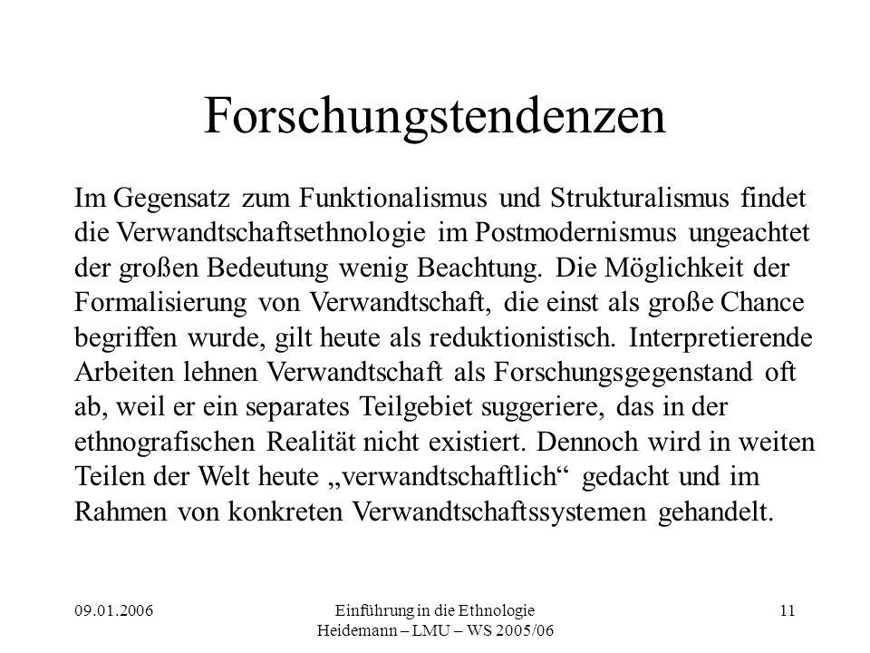 09.01.2006Einführung in die Ethnologie Heidemann – LMU – WS 2005/06 11 Forschungstendenzen Im Gegensatz zum Funktionalismus und Strukturalismus findet die Verwandtschaftsethnologie im Postmodernismus ungeachtet der großen Bedeutung wenig Beachtung.