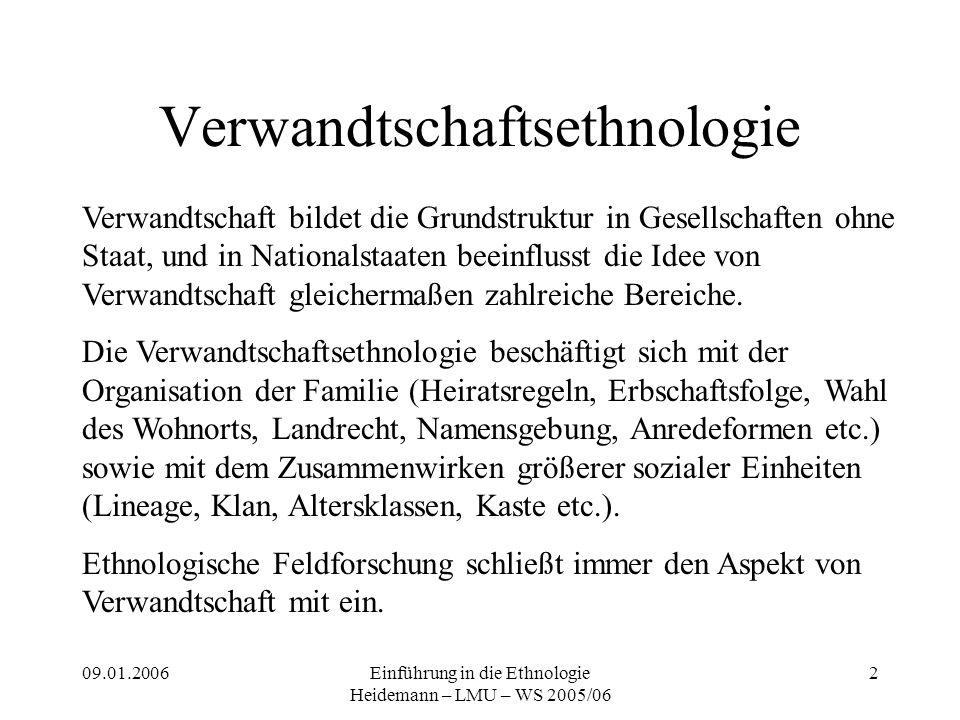 09.01.2006Einführung in die Ethnologie Heidemann – LMU – WS 2005/06 2 Verwandtschaftsethnologie Verwandtschaft bildet die Grundstruktur in Gesellschaf